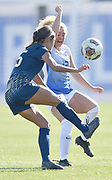 George Washington midfielder Maria Pareja (left) and St. Louis University defender Brionna Halverson fight for possession of the ball. St. Louis University defeated George Washington in the championship game of the Atlantic 10 Conference Women's Soccer Tournament at Robert Hermann Stadium at St. Louis University on Sunday November 10, 2019.<br /> Photon by Tim Vizer