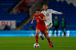 CARDIFF, WALES - Sunday, November 15, 2020: Wales' Daniel James (L) gets away from Republic of Ireland's Cyrus Christie during the UEFA Nations League Group Stage League B Group 4 match between Wales and Republic of Ireland at the Cardiff City Stadium. Wales won 1-0. (Pic by David Rawcliffe/Propaganda)