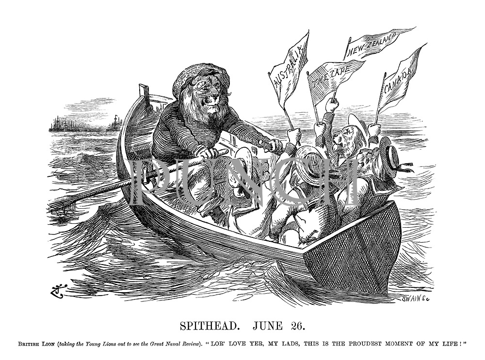 """Spithead. June 26. British Lion (taking the Young Lions out to see the Great Naval Review). """"Lor' love yer, my lads, this is the proudest<br />moment of my life!"""""""