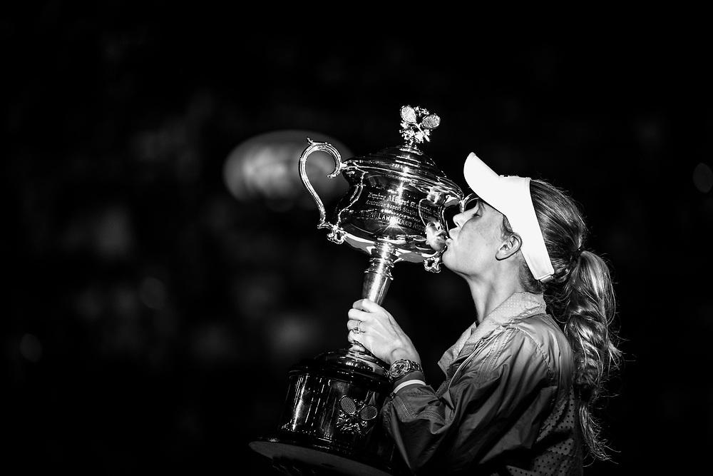 Caroline Wozniacki of Denmark during the trophy presentation after winning the women's singles championship match during the 2018 Australian Open on day 13 in Melbourne, Australia on Saturday night January 27, 2018.<br /> (Ben Solomon/Tennis Australia)
