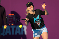 February 12, 2019 - Doha, QATAR - ELINA SVITOLINA of the Ukraine practices at the 2019 Qatar Total Open WTA Premier tennis tournament in Doha.  (Credit Image: © AFP7 via ZUMA Wire)