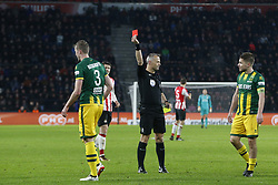 (L-R), Thomas Meissner of ADO Den Haag, Referee Bjorn Kuipers, Aaron Meijers of ADO Den Haag during the Dutch Eredivisie match between PSV Eindhoven and ADO Den Haag at the Phillips stadium on December 16, 2017 in Eindhoven, The Netherlands