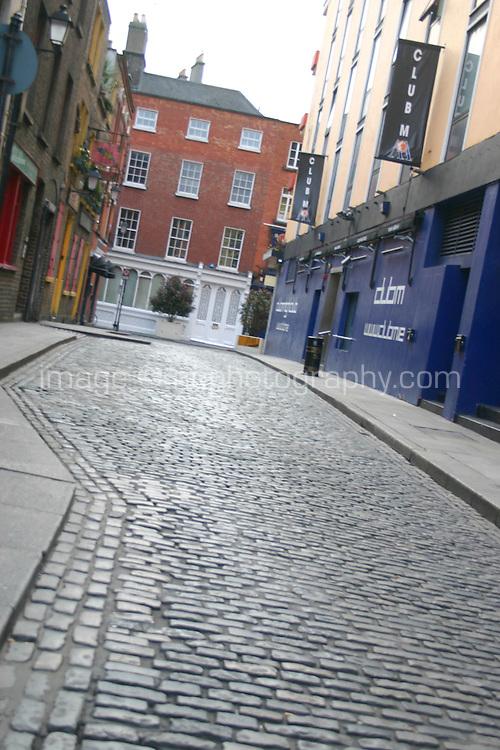 Cobblestoned street in Temple Bar, Dublin, Ireland