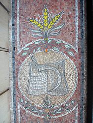 Detail of mosaic with Socialist motif on apartment building on Karl Marx Allee in former East Berlin Germany