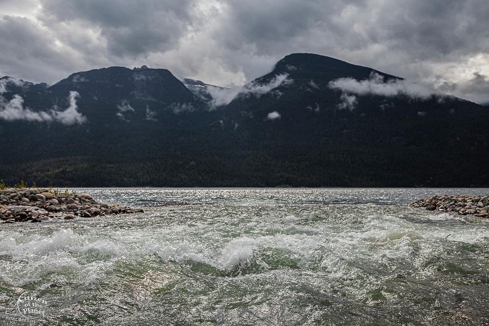 Carpenter Creek flowing into Slocan Lake, New Denver, Slocan Valley, West Kootenay, British Columbia, Canada