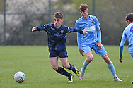 Leeds United forward Niall Huggins on the attack during the U18 Professional Development League match between Coventry City and Leeds United at Alan Higgins Centre, Coventry, United Kingdom on 13 April 2019.