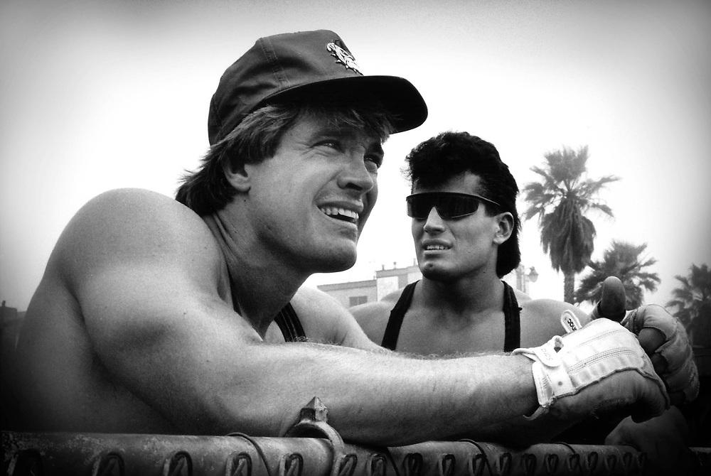 Two men working out, mucsle beach, Venice beach LA