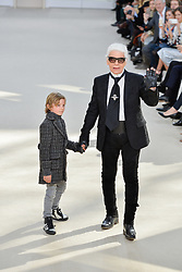 Karl Lagerfeld and his nephew Hudson Kroenig pose on the runway during the Chanel show as part of the Paris Fashion Week Womenswear Fall/Winter 2016/2017 at Grand Palais in Paris, France on March 8, 2016. Photo by ABACAPRESS.COM
