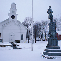 Coventry, VT.The town square.  Northern Forest. Winter..