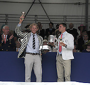 Henley, Great Britain.  Henley Royal Regatta. Winners of the Silver Goblets and Nickalls' Challenge Cup, Leander Club and Molesey Boat Club, Andy TRIGGS HODGE, and Peter REED, raise the Trophy, in celebration. River Thames,  Henley Reach.  Royal Regatta. River Thames Henley Reach. Sunday  16:56:31  03/07/2011  [Mandatory Credit/Intersport Images] . HRR