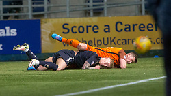Dundee United's Thomas Scobbie and Falkirk's Craig Sibbald. Falkirk 6 v 1 Dundee United, Scottish Championship game played 6/1/2018 played at The Falkirk Stadium.