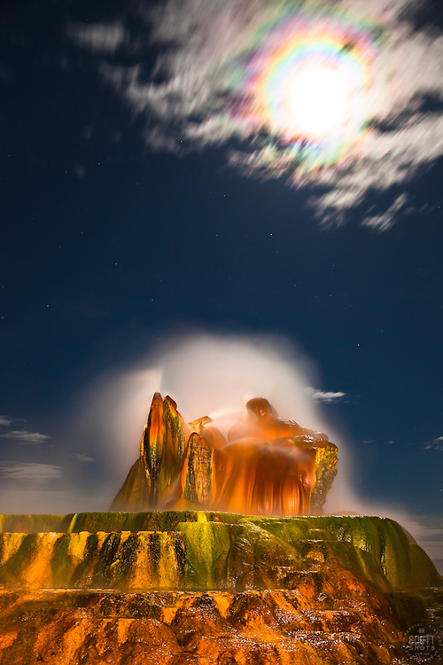 """""""Full Moon Over Fly Geyser 1"""" - Photograph of the famous Fly Geyser in Nevada with a rainbow like corona around a full moon."""