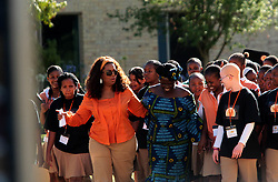 American television host and media mogul Oprah Winfrey is seen with 2004 Nobel Peace Prize winner Dr. Wangari Maathai, R, at the Oprah Winfrey Leadership Academy for girls in Meyerton, south of Johannesburg, Tuesday, 25 November 2008. Winfrey and Maathai addressed learners at the school as part of a leadership conference to examine the role that the youth could play within their communities and the wider South Africa society to contribute positive change. A tree was planted as part of  the learners ' commitment to leadership and change. Picture: Werner Beukes/SAPA
