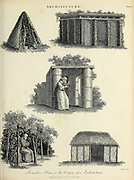 Copperplate engraving of Primitive huts - the origin of Architecture From the Encyclopaedia Londinensis or, Universal dictionary of arts, sciences, and literature; Volume II;  Edited by Wilkes, John. Published in London in 1810