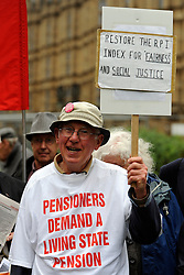 © Licensed to London News Pictures. 26/10/2011. Westminster, UK. Pensioners from across the UK gather in Westminster to lobby their MPs to demand Rights in Retirement today, 26 October 2011. Photo: Stephen Simpson/LNP