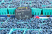 Fresh blueberries on sale at a farmers market in Wicker Park August 2, 2015 in Chicago, Illinois, USA