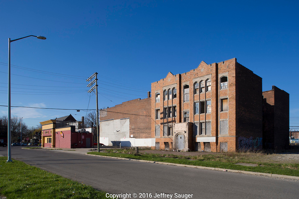 The Marlborough Building on Jefferson Avenue in the Jefferson-Chalmers Historic Business District and neighborhood in Detroit, Michigan, Wednesday, April 20, 2016. <br /> <br /> On September 7, 2016, The National Trust for Historic Preservation gave the Jefferson-Chalmers neighborhood in Detroit's lower east side the distinction of a National Treasure. This is the first in the state of Michigan and the first project under the National Trust's ReUrbanism initiative. (Photo by Jeffrey Sauger )