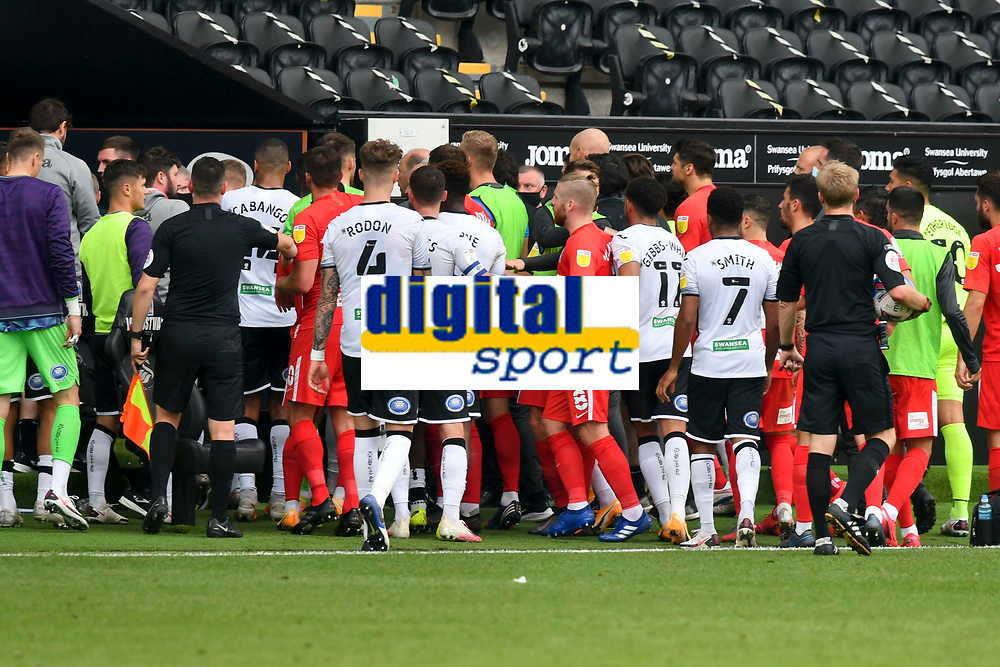 Football - 2020 /2021 EFL Championship - Swansea City vs Birmingham City <br />      <br /> Players approach the tunnel at half time <br /> in a match played without fans at the Liberty Stadium<br /> <br /> COLORSPORT/WINSTON BYNORTH