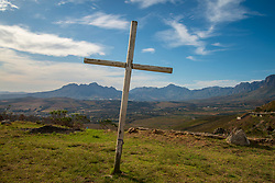 A cross is seen at Sir Lowry's pass, on April 9, 2020, as South Africa heads into the Easter weekend. People will have to stay at home instead of worshiping in nature or at church. Today marks two weeks since the government ordered a national lockdown in response to the spreading Corona virus. <br /> Sir Lowry's pass, is located in the Hottentots-Holland Mountains, on the N2 between Grabouw and Cape Town, in the Western Cape. It overlooks Gordon's Bay, Strand, Somerset West, and the coastline toward Cape Town. PHOTO: EVA-LOTTA JANSSON[This and other images in this series are shot on accredited assignment].