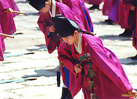 South Korea, Seoul, 2001. The peircing tones and minimalist sounds of the sacred Tae'je Ritual at Chongmyo Shrine, an island of wide royal spaces in the center of Seoul.