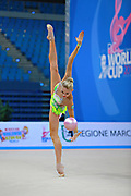 Nazarenkova Elizaveta of Uzbekistan competes durin Individual qulification of ball in the World Cup at Adriatic Arena on April 10, 2015 in Pesaro, Italy. Elizaveta is an individual rhythmic gymnast of Russian origin born in Murmansk in 1995.
