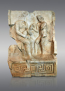 Roman Sebasteion relief  sculpture of Nysa and baby Dionysus Aphrodisias Museum, Aphrodisias, Turkey. <br /> <br /> The nymph Nysa has the baby Dionysus on her lap. He reaches out to a bunch of grapes held up by a satyr, one of his woodland followers. Dionysus was the son of Zeus by Semele, and was given the nymphs of Mt Nysa for an upbringing in the wilds, safe from the eyes of Hera, Zeus's wife. Nysa was located in the Meander Valley, near Aphrodisias: the story was local. .<br /> <br /> If you prefer to buy from our ALAMY STOCK LIBRARY page at https://www.alamy.com/portfolio/paul-williams-funkystock/greco-roman-sculptures.html . Type -    Aphrodisias     - into LOWER SEARCH WITHIN GALLERY box - Refine search by adding a subject, place, background colour, museum etc.<br /> <br /> Visit our ROMAN WORLD PHOTO COLLECTIONS for more photos to download or buy as wall art prints https://funkystock.photoshelter.com/gallery-collection/The-Romans-Art-Artefacts-Antiquities-Historic-Sites-Pictures-Images/C0000r2uLJJo9_s0