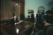 President Reagan address to the nation from the Oval Office on Arms reduction on November 18,1982  <br />Photo by Dennis Brack