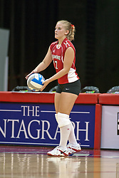 19 AUG 2006  Amy Olson serves the ball..Game action took place at Redbird Arena on the campus of Illinois State University in Normal Illinois.