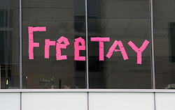 Jury selection continues on day two of the Taylor Swift v David Mueller trial at the Alfred A. Arraj United States Courthouse in Denver. The trial is expected to start this afternoon. Fans waited in line for a chance to be in the court room with Taylor Swift this afternoon. An office across the street from the courthouse had a made a sign using stickies reading 'FREETAY.' Also pictured two pages of the jury selection questionnaire. 08 Aug 2017 Pictured: Mueller V. Swift Trial Day Two. Photo credit: Leigh Green/MEGA TheMegaAgency.com +1 888 505 6342