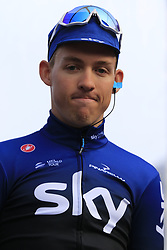 Kristoffer Halvorsen (NOR) Team Sky on stage at sign on before the 2019 Gent-Wevelgem in Flanders Fields running 252km from Deinze to Wevelgem, Belgium. 31st March 2019.<br /> Picture: Eoin Clarke | Cyclefile<br /> <br /> All photos usage must carry mandatory copyright credit (© Cyclefile | Eoin Clarke)