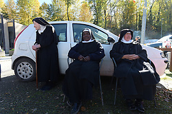 Benedictine nuns left their convent after the earthquake in Norcia, central Italy on October 30, 2016. Italy's most powerful earthquake in 36 years struck a new blow to the country's seismically vulnerable heart, terrifying residents for the third time in nine weeks. PHOTO by Eric Vandeville/ABACAPRESS.COM