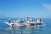 Panga boat carrying divers from Monad Shoal bears the mascot of the thresher shark, Malapascua Island, central Philippines, Vizcayan Sea, Western Pacific Ocean
