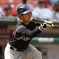 21 July 2007:  Colorado Rockies pitcher Rodrigo Lopez (31) attempts a sacrifice bunt in the 3rd inning against Washington Nationals pitcher Mike Bacsik.  The Nationals defeated the Rockies 3-0 at RFK Stadium in Washington, D.C.  ****For Editorial Use Only****
