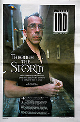 Feb 8th, 2006. New Orleans, Louisiana. <br /> Front page of The Independent, Lafayette. Times Picayune Pulitzer Prize nominated columnist and author Chris Rose. This photo was taken for the review of Chris' book 'One Dead in Attic,' where my image appears on the cover and throughout the book. Chris sold 60,000 copies of the original version of the book before being bought out by a big publishing house.<br /> Photo; Charlie Varley.