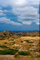 Painted Canyon Panorama. Theodore Roosevelt National Park. Image taken with a Nikon D3 and 85 mm f/2.8 PC-E lens (ISO 200, 85 mm, f/16, 1/40 sec). 4 of 9 images combined with AutoPano Giga and Dehaze Filter.