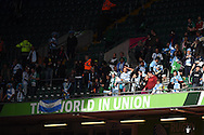 Argentina fans look on at end of the match. Rugby World Cup 2015 quarter-final match, Ireland v Argentina at the Millennium Stadium in Cardiff, South Wales  on Sunday 18th October 2015.<br /> pic by  Andrew Orchard, Andrew Orchard sports photography.