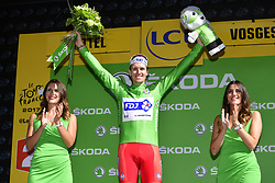 July 4, 2017 - Mondorf Les Bains / Vittel, Luxembourg / France - VITTEL, FRANCE - JULY 4 : DEMARE Arnaud (FRA) Rider of FDJ pictured during the podium ceremony in the green jersey after 4 of the 104th edition of the 2017 Tour de France cycling race, a stage of 207.5 kms between Mondorf-Les-Bains and Vittel on July 04, 2017 in Vittel, France, 4/07/2017 (Credit Image: © Panoramic via ZUMA Press)