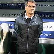Bursaspor's coach Senol Gunes during the Turkish soccer super league match Bursaspor between Fenerbahce at the Ataturk Stadium in Bursa Turkey on Monday, 24 November 2014. Photo by Aykut AKICI/TURKPIX