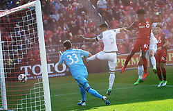 TORONTO, May 14, 2017  Tosaint Ricketts (3rd L) of Toronto FC heads the ball to score a goal during the 2017 Major League Soccer (MLS) match between Toronto FC and Minnesota United FC at BMO Field in Toronto, Canada, May 13, 2017. Toronto FC won 3-2. (Credit Image: © Zou Zheng/Xinhua via ZUMA Wire)