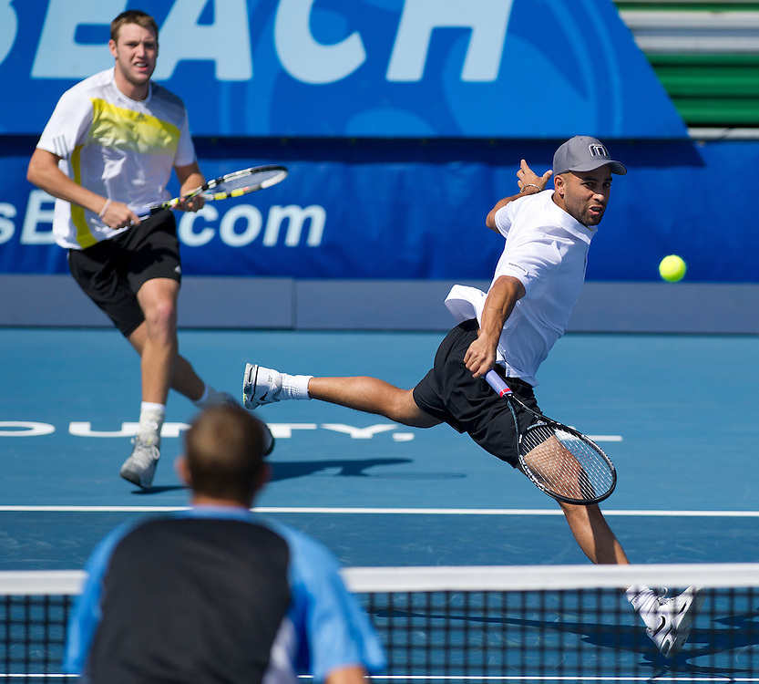James Blake (USA) in action with his partner  during their victory over Max Mirnyi (BLR) and Horia Tecau (ROU) in the Final match today - James Blake (USA) and Jack Sock (USA) def Max Mirnyi (BLR) and Horia Tecau (ROU) 6-4 6-4..ATP 250 Tennis - 2012 Delray Beach International Tennis Championships - Day 7 -  Sunday 3rd March 2013 - Delray Beach Stadium & Tennis Center - Delray Beach - Florida - USA..© CameraSport - 43 Linden Ave. Countesthorpe. Leicester. England. LE8 5PG - Tel: +44 (0) 116 277 4147 - admin@camerasport.com - www.camerasport.com