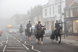 Licensed to London News Pictures. 09/10/2021. London, UK. Horse riders enjoy the dense fog in Wimbledon south-west London this morning as the Met Office issue yellow weather warnings for fog patches in London and the South East, leading to difficult driving conditions and disruption to travel. Photo credit: Alex Lentati/LNP