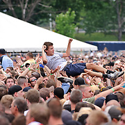 Washington, D.C. - Crowd surfers enjoy an early afternoon set by Cage The Elephant at the 2010 DC101 Chili Cookoff at RFK Stadium.