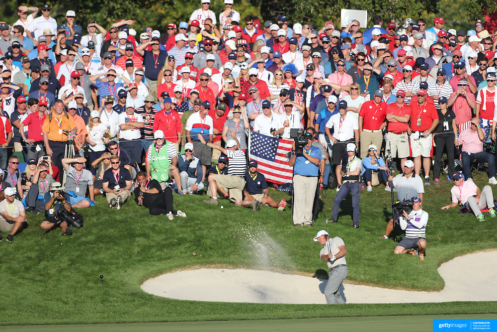 Ryder Cup 2016. Day Two. Lee Westwood of Europe chips out of the sand trap on the sixteenth during the Ryder Cup at the Hazeltine National Golf Club on October 01, 2016 in Chaska, Minnesota.  (Photo by Tim Clayton/Corbis via Getty Images)