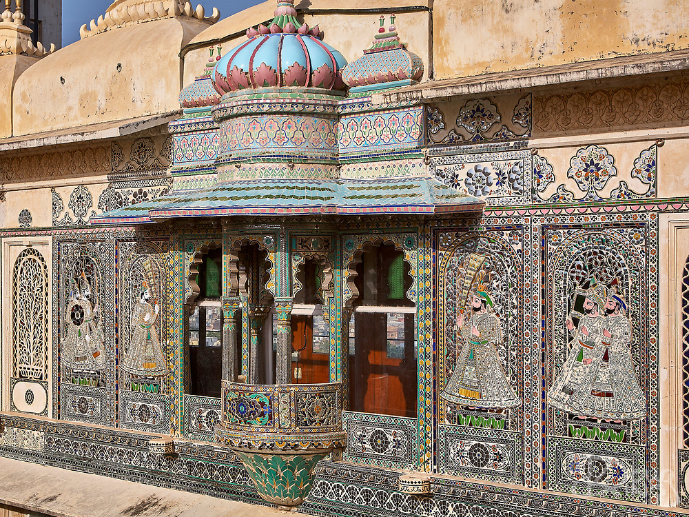 Elaborately decorated with ceramics and stained glass the Maharaja's apartments look out from the City Palace in Udaipur, Rajasthan, India <br /> <br /> Editorial & Non-Commercial use only