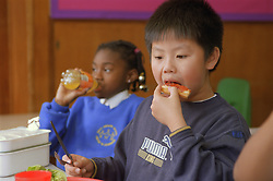 Primary school boy and girl eating dinner in canteen,
