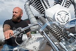 Arnaud Mary's (Motorsports Garage, France) custom 1986 Harley-Davidson XL 1200 Ironhead Sportster digger at the Rat's Hole Bike Show during the annual Sturgis Black Hills Motorcycle Rally.  SD, USA.  August 11, 2016.  Photography ©2016 Michael Lichter.