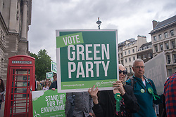 May 30, 2017 - London, United Kingdom - Green Party supporters are pictured in London on May 30, 2017. Supporters and Caroline Lucas gathered at Parliament square to highlight the lack of debate on environmental issues by other parties, in the campaign to general election of 8th June. (Credit Image: © Alberto Pezzali/NurPhoto via ZUMA Press)