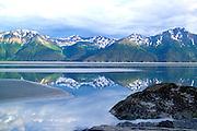 Alaska. Chugach State Park and Chugach Mountain.s, Mudflats in  Turnagain Arm.