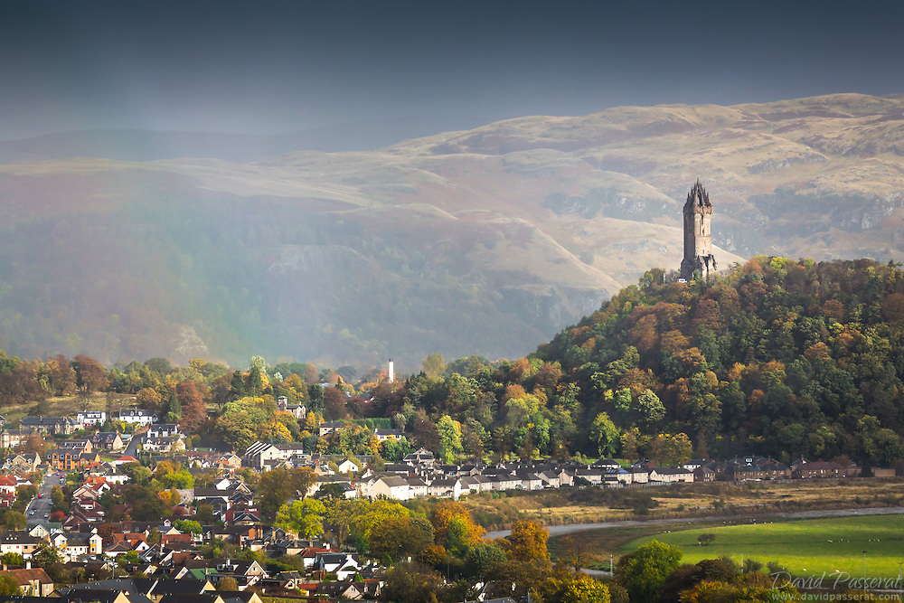 Suburbs of Stirling with the William Wallace monument tower on the hill.