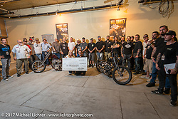 Group photo of the invited builders of the In Motion invitational bike show at the Lone Star Rally. Galveston, TX. USA. Friday November 3, 2017. Photography ©2017 Michael Lichter.